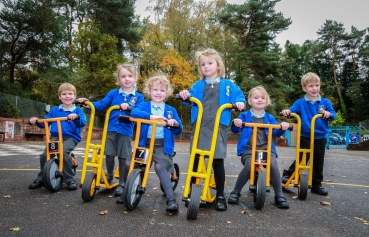 St James First School in Alderholt with their new bikes and scooters.