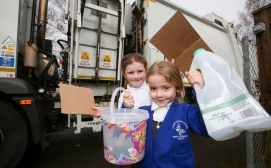 A recycling lorry from Dorset Waste Partnership visits Three Legged Cross First and Nursery School.